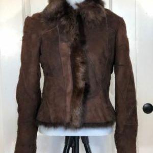 VINTAGE Brown Patchwork (faux?)FUR-lined jacket